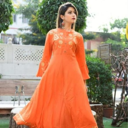 Rayon Orange Kurti with Beautiful Gotta Work