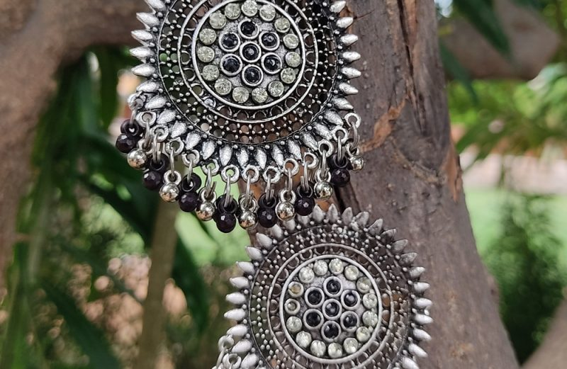 Oxidized Silver Exclusive Silver and Black Stone and beads Studs Earrings