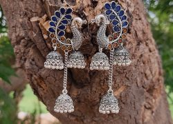 German Silver /Designer Oxidized Peacock Enamel Multiple Jhumka Earrings