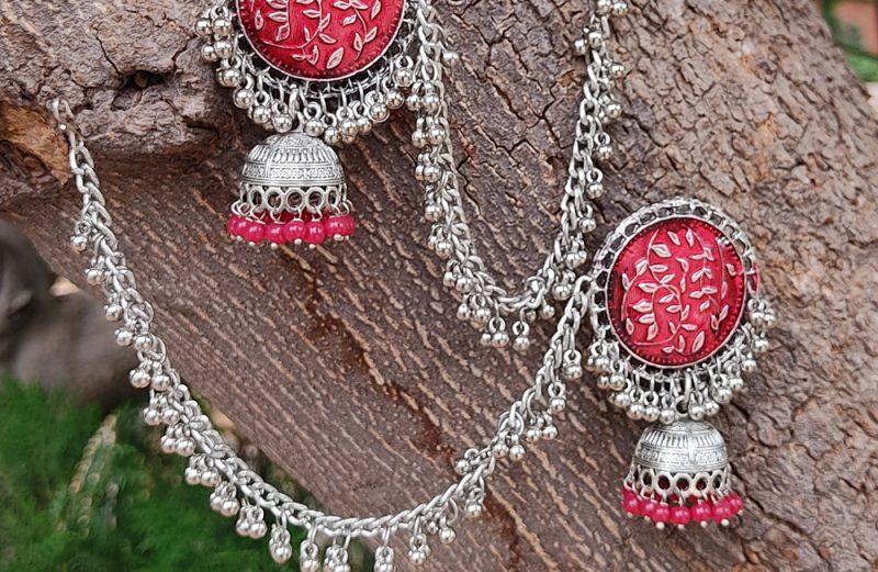 Bollywood Silver Oxidised Jhumkas